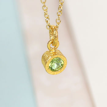 Gold And Green Peridot Birthstone Necklace