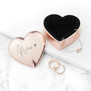 Engraved Signature Name Heart Trinket Box