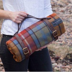 Recycled Wool Tartan Picnic Blanket With Leather Strap - picnics & barbecues