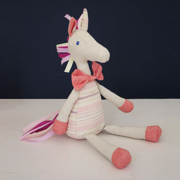 Linen Unicorn Toy With Tassels