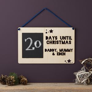 Personalised Advent Wooden Sign - christmas sale