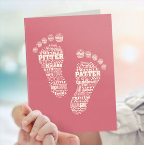 New Baby Card 'Baby Girl Feet'