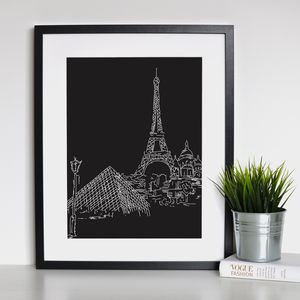 Paris Landmark Framed Print - gifts for travel-lovers