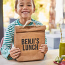 Personalised Sustainable Vegan Lunch Bag