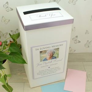 Personalised Funeral Donations Collection Post Box