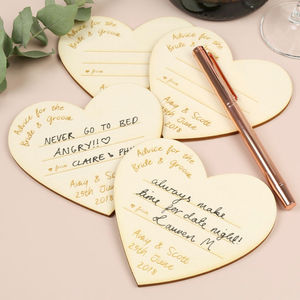 24 Personalised Wooden Heart Wedding Advice Cards