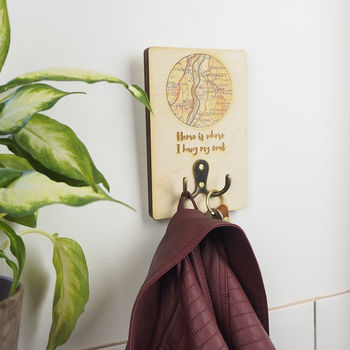 Personalised 'Home Is Where I Hang My Coat' Hook