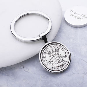 70th Birthday 1949 Sixpence Coin Keyring