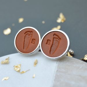 Personalised Leather Handprint Footprint Cufflinks - men's accessories