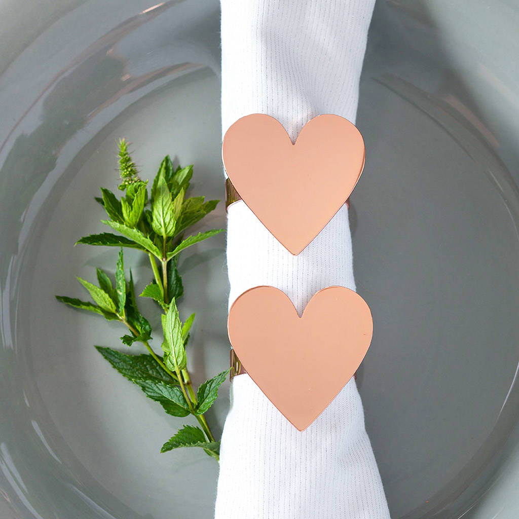 Rose Gold Or Silver Heart Napkin Rings