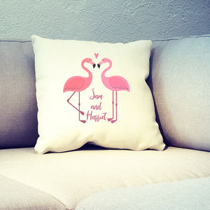 Personalised Flamingo Couple Cushion Cover - cushions