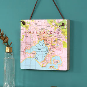 Personalised Hanging Map Location Block Wall Art - personalised