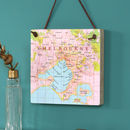 Personalised Hanging Map Location Block Wall Art