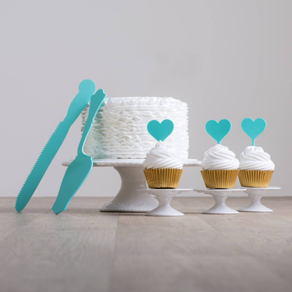 acrylic cake knife slicer and cupcake topper set by funky laser