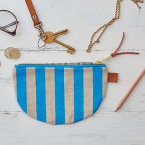 Deckchair Blue Stripe Half Moon Linen Purse - women's accessories