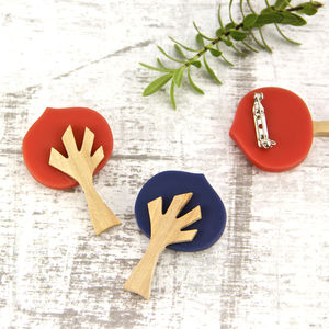 Wooden Tree Brooch - pins & brooches