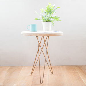 Hand Made Wooden Side Table With Gold Hairpin Tri Leg - side tables