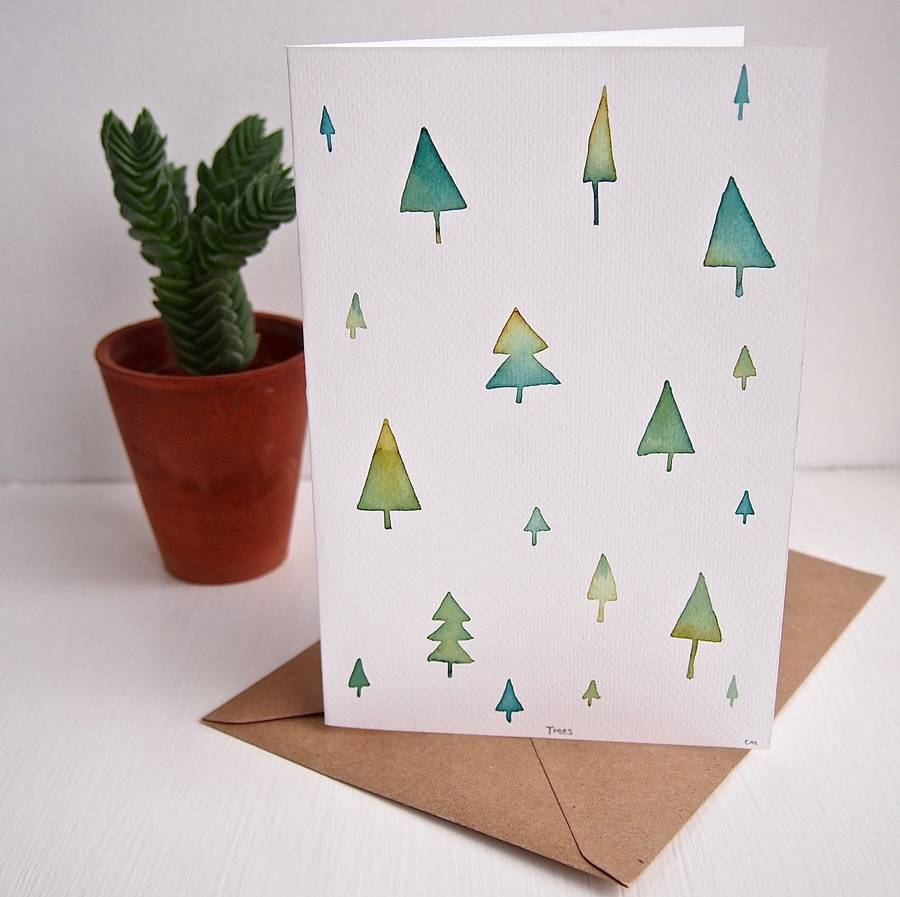 Watercolour Christmas Tree: Handmade Original Watercolour Trees Card By Kabinshop