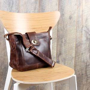 Leather Twist Lock Cross Body Messenger Handbag - cross body bags