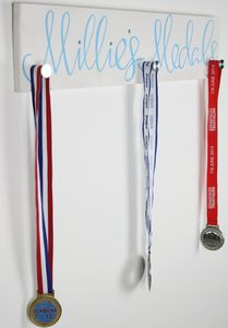 Personalised Wooden Medal Plaque - hooks, pegs & clips