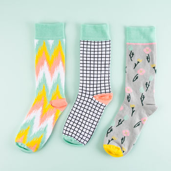 Black And White Check Socks For Women