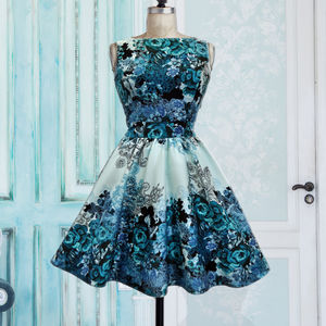 Teal Collage Tea Dress - women's fashion