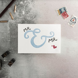 'Mr And Mr' Letterpress Wedding Card - shop by category