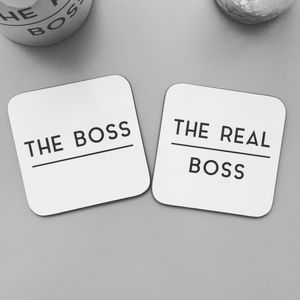 The Boss And The Real Boss Coaster Set - best anniversary gifts