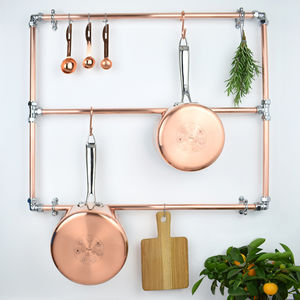 Copper And Chrome Pan Rack - utensil holders