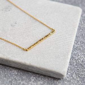 18 Ct Gold Vermeil Diamond Bar Necklace - gifts for her
