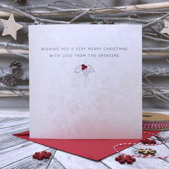 Personalised Christmas Card Holly Design
