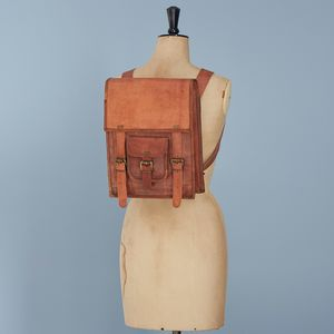 Personalised Brown Leather Satchel Style Rucksack