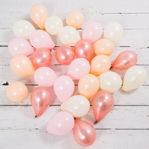 Pack Of 28 Rose Gold Blush Mini Balloons