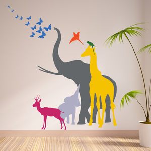 Seven Safari Animal Wall Stickers New Sizes - wall stickers