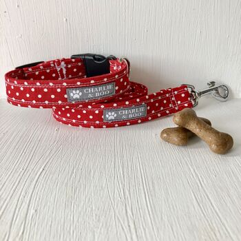 Red Dog Collar And Lead Set For Girl Or Boy Dogs
