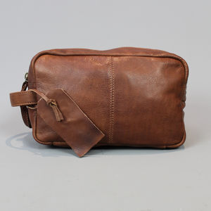 Personalised Brown Leather Wash Bag