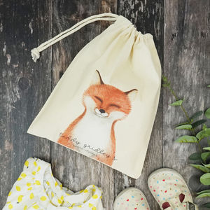 Personalised Finley Fox Spare Clothes Bag - storage