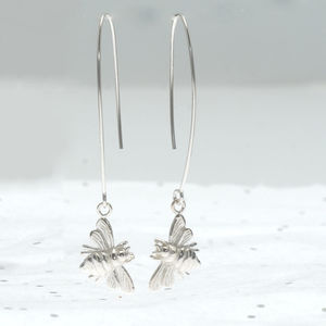 Bee Silver Drop Earrings - earrings