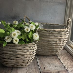 Grey Basket Garden Planters - storage baskets
