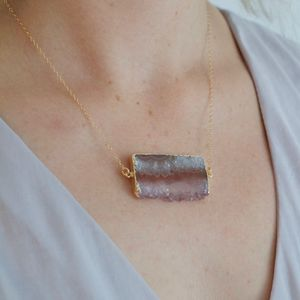 Gold Amethyst Slice Necklace
