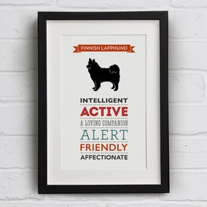 Finnish Lapphund Dog Breed Traits Print - new in