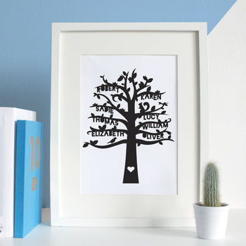 Personalised Family Tree Paper Cut Artwork