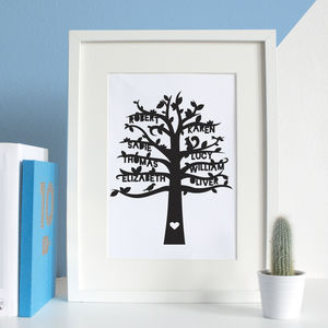 Personalised Family Tree Paper Cut Artwork - gifts for grandmothers