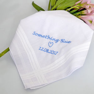 Something Blue Personalised Wedding Handkerchief