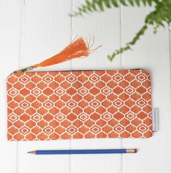Alta Pencil Case, Geometric Orange Pattern