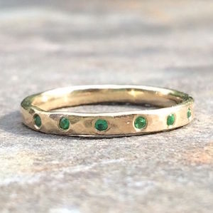 Hexa Ring 9ct Yellow Eco Gold Emerald - birthstone jewellery gifts