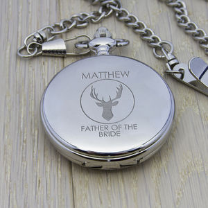 Personalised Wedding Party Stag Design Pocket Watch - watches