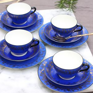Antique Blue And Gold Teaset - cups & saucers