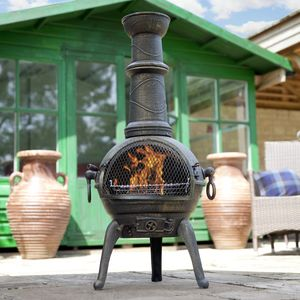 Large Cast Iron Chimenea With Grill - new in garden