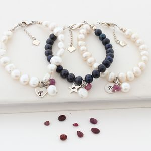 Personalised Pearl And Birthstone Cluster Bracelet - bracelets & bangles